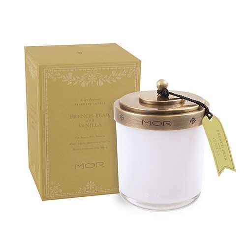 MOR Scented Home Library Fragrant Candle in French Pear and Vanilla