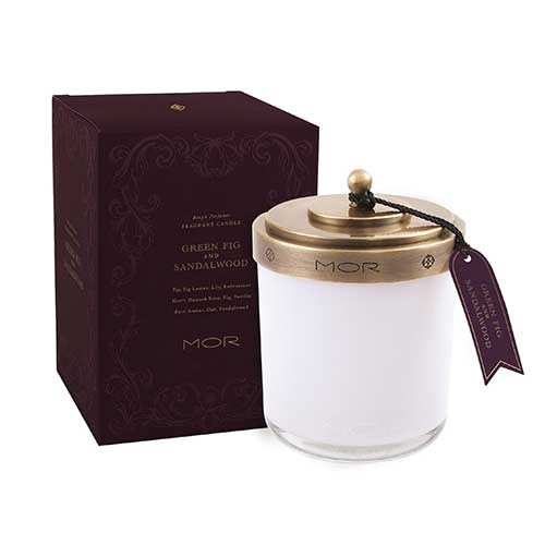 MOR Scented Home Library Fragrant Candle in Green Fig and Sandalwood