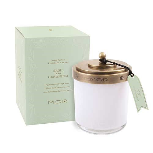 MOR Scented Home Library Fragrant Candle in Basil and Geranium