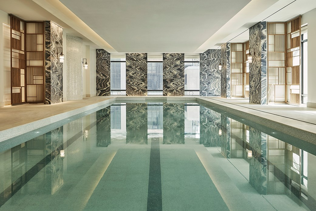 The indoor pool at The Spa at the Four Seasons Hotel