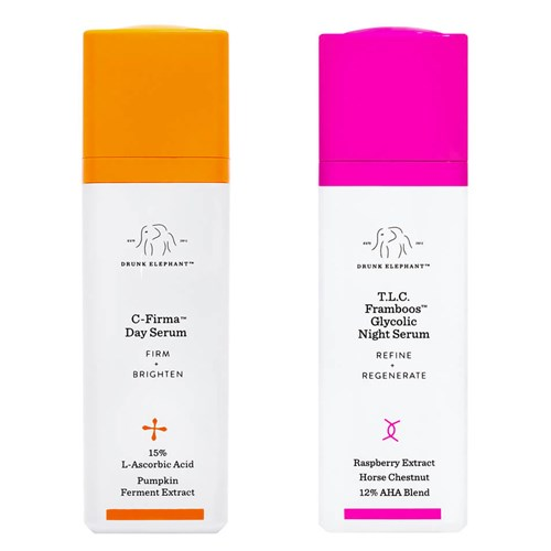 Drunk Elephant C-Firma™ Day Serum and Drunk Elephant T.L.C. Framboos™ Glycolic Night Serum