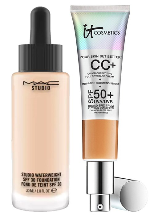 MAC Studio Waterweight Foundation SPF 30 and IT Cosmetics Your Skin But Better CC Cream with SPF 50+