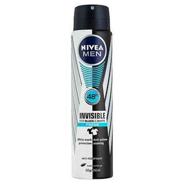 NIVEA MEN Invisible For Black & White Fresh Aerosol Deodorant