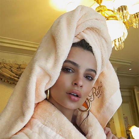 Em Rata hair in towel