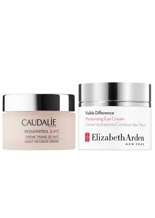 Caudalie Resveratrol Night Infusion Cream and Elizabeth Arden Visible Difference Moisturizing Eye Cream