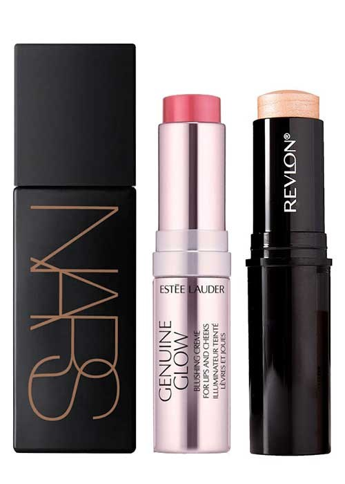 NARS Liquid Laguna Bronzer; Estée Lauder Genuine Glow Blushing Crème; Revlon Photo-Ready Insta-Fix Highlighting Stick