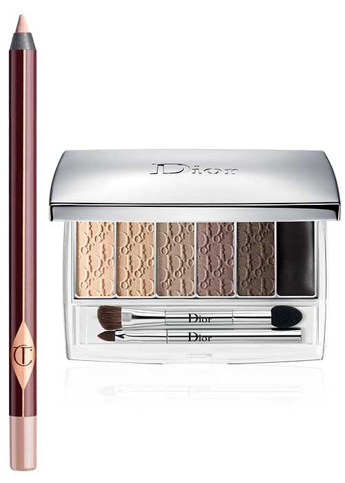 Charlotte Tilbury Rock 'N' Kohl Liquid Eyeliner Pencil in Eye Cheat; Dior Eye Reviver Backstage Pros Illuminating Neutrals Eye Palette