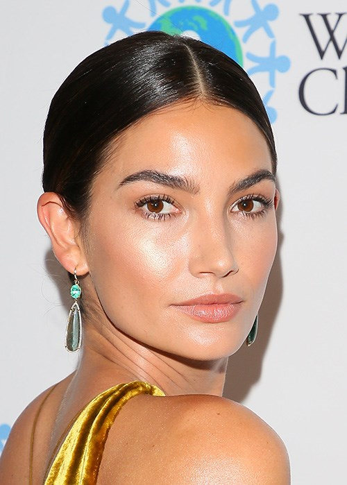 Lily Aldridge Glowing Skin Yellow Dress