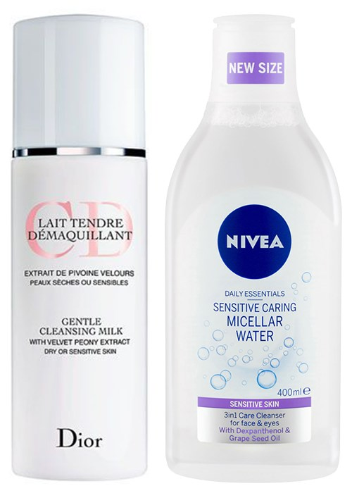 Dior Gentle Cleansing Milk – Dry or Sensitive Skin; NIVEA Daily Essentials Sensitive Caring Micellar Water