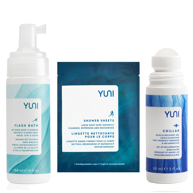 Yuni Flash Bath Body Cleansing Foam, Yuni Shower Sheets, Yuni Chillax Muscle Recovery Gel