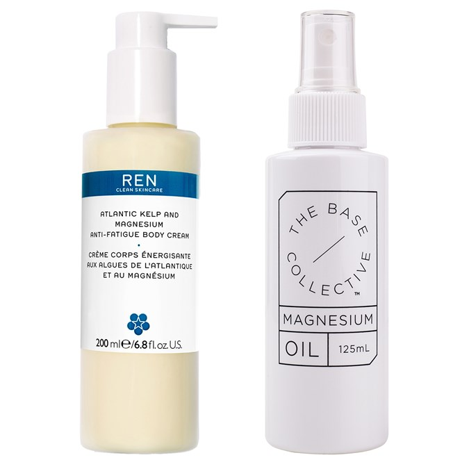 Ren Atlantic Kelp And Magnesium Anti-Fatigue Body Cream; The Base Collective Magnesium Oil