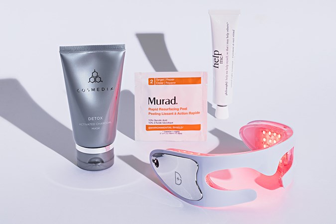 Cosmedix Detox Activated Charcoal Mask; Murad Rapid Resurfacing Peel; Philosophy