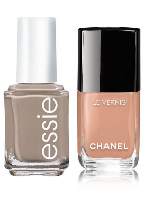 Essie Nail Colour in Chinchilly and CHANEL Le Vernis Longwear Nail Colour in Beige Beige