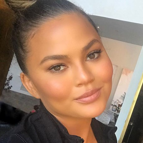 Chrissy Teigen using blackhead strips
