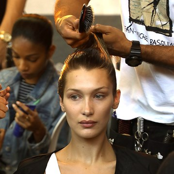 Bella Hadid hair backstage